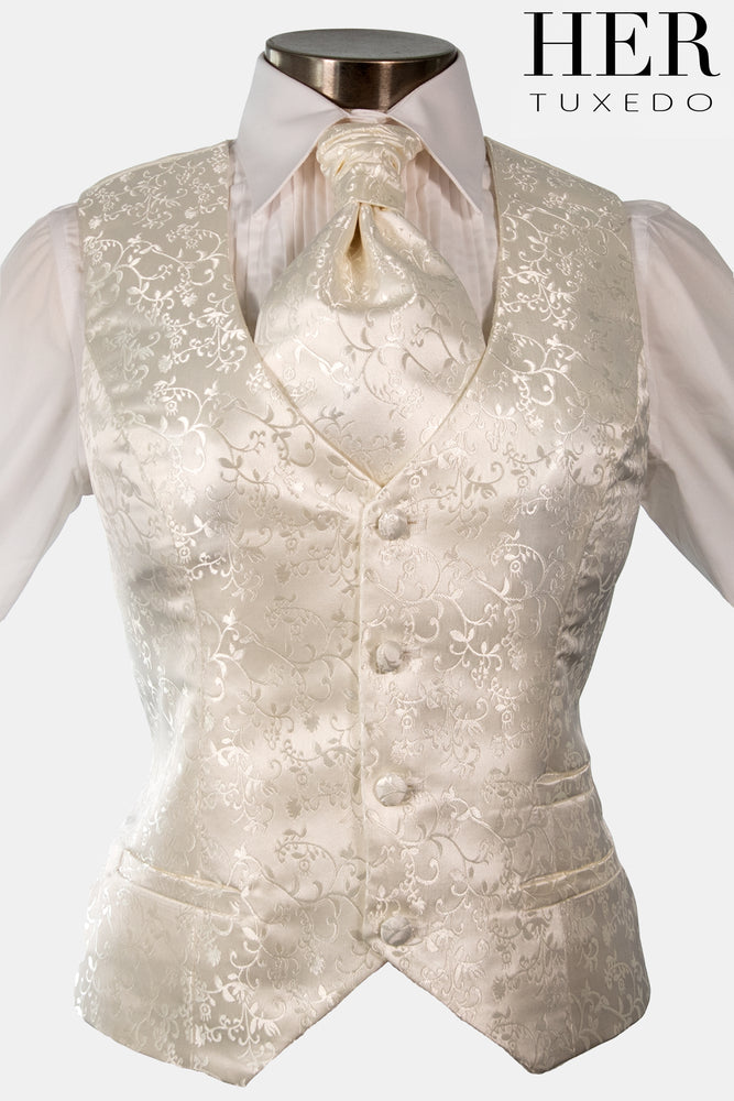 Pearl Ivory Damask Waistcoat ( Floral Vine Pattern)( Not White)(Slim Fit)