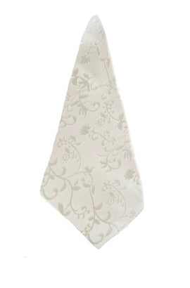Pearl Ivory Damask Handkerchief (With an elegant Floral Vine pattern)( Not White)