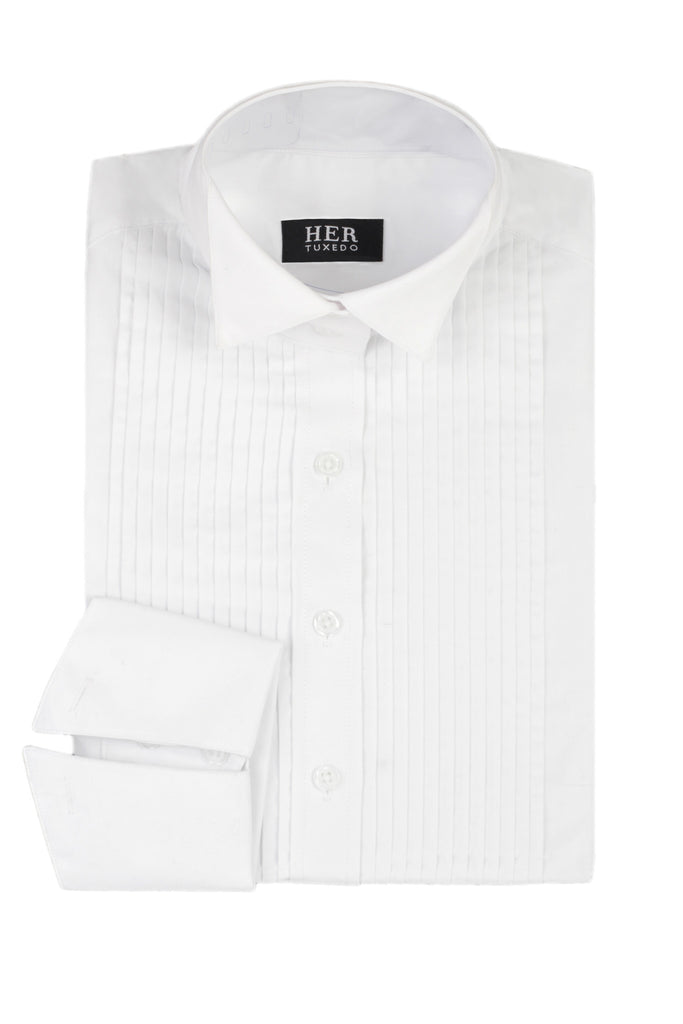 Wing Collar, Pleated Front Tuxedo Dress Shirt - Her Tuxedo