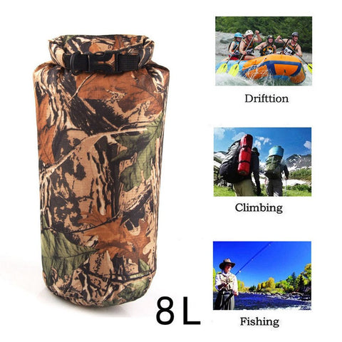 Camping - New Portable 8L Camouflage Waterproof Dry Bag Storage