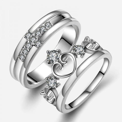 Jewelry - EverTogether™ - Cross & Crown Zircon Silver Couples Rings