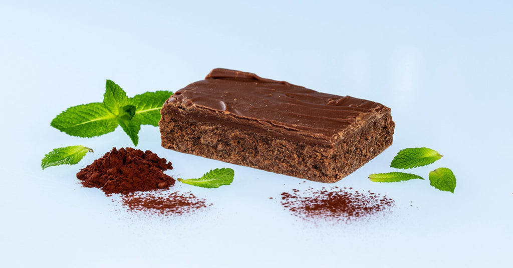 Handmade Chocolate Fudge surrounded by cocoa and mint leaves