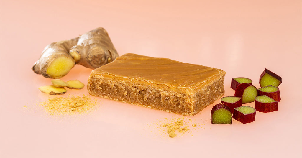 Handmade Fudge Surrounded by Pieces of Rhubarb and Ginger