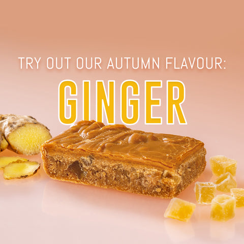 Try out our Autumn flavour: Ginger. Bar of handmade Ginger Fudge surrounded by Stem Ginger and ginger