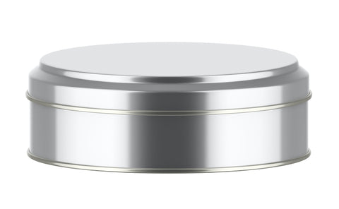 Silver Cookie Tin used to store Scottish Tablet.