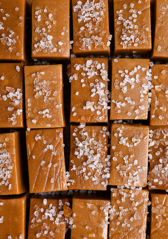 Fudge Pieces sprinkled with Salt.