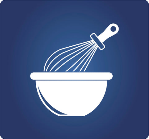 White Mixing Bowl with White Whisk.