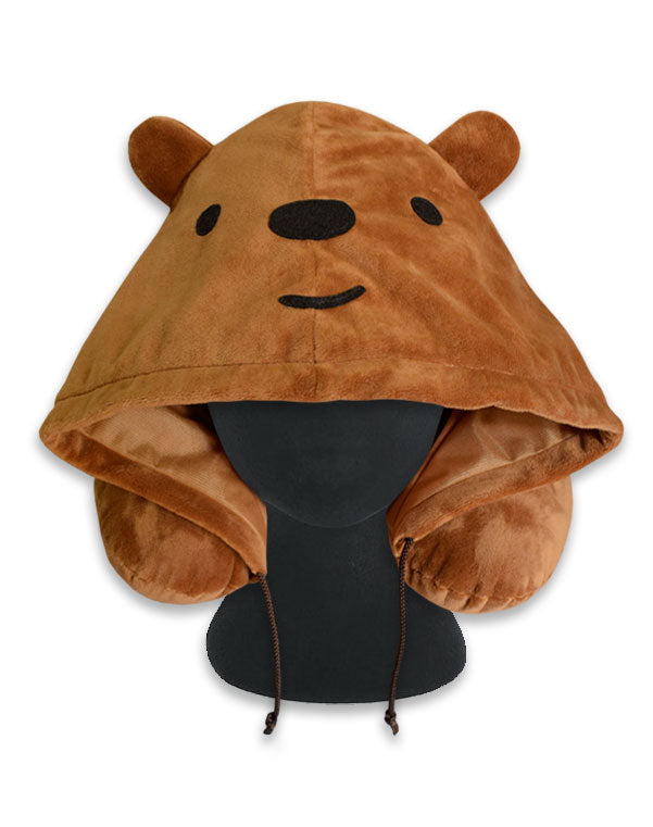 Grizzly Bear Hoodie Travel Neck Pillow