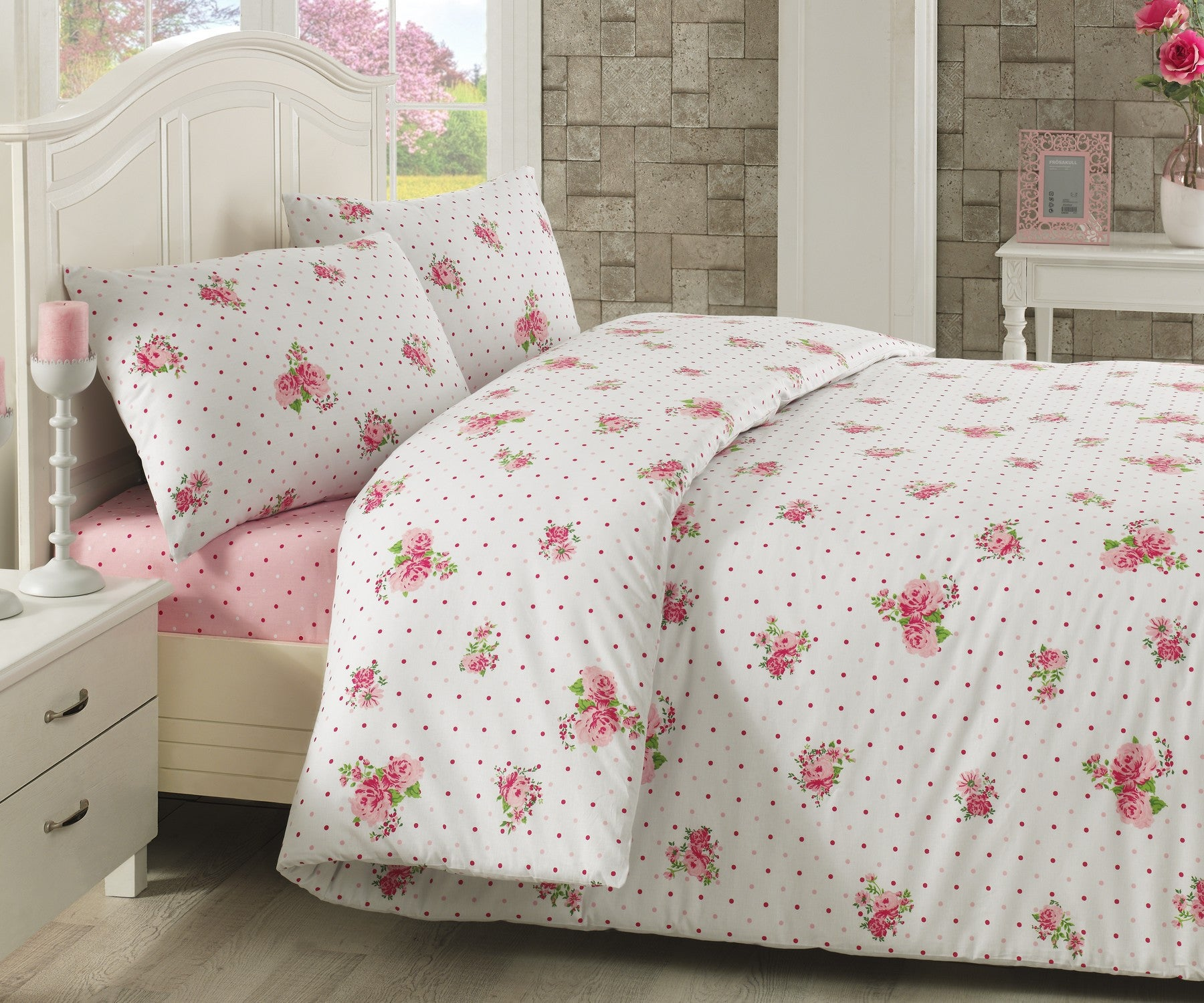 florina bettw sche 160 220 pink and more. Black Bedroom Furniture Sets. Home Design Ideas