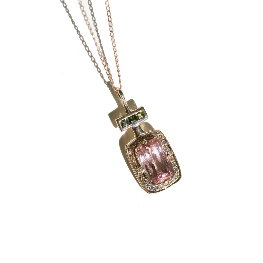 LE PARFUM N°2 - Pendentif en or 9 carats Tourmalines & Diamants blancs