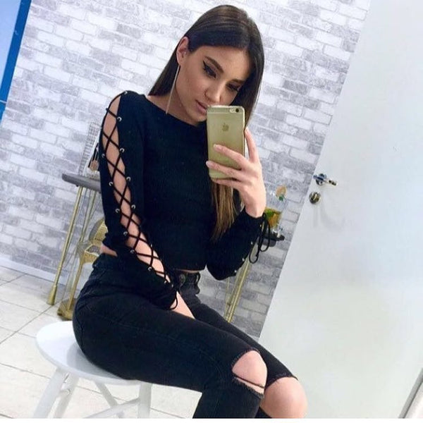 Sexy Long Sleeve  Slim Fit Split Ribbed  Knit Crop Sweatshirt  Top Sweater