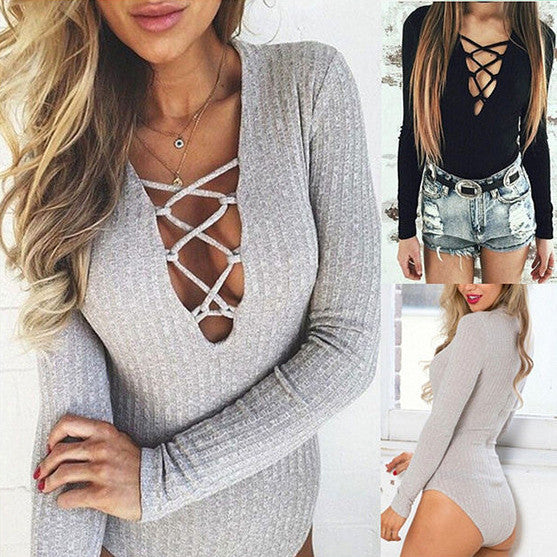Crisscross V-Neck Long Sleeve Romper Jumpsuit Bodysuit