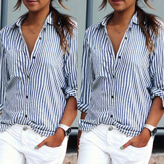 Fashion Stripe Long Sleeve Lapel Shirt Blouse Tops