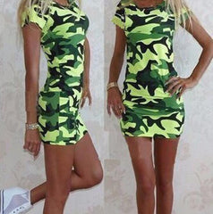 Camouflage Casual Fashion Round Neck Dress