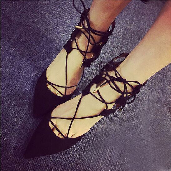 Sexy Strappy Solid Color Pointed Toe High Heels Shoes