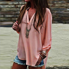 Fashion Sexy V-Neck Chiffon Loose Shirt Blouse Tops