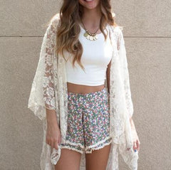 Lace Beach Loose Cardigan Blouse Smock