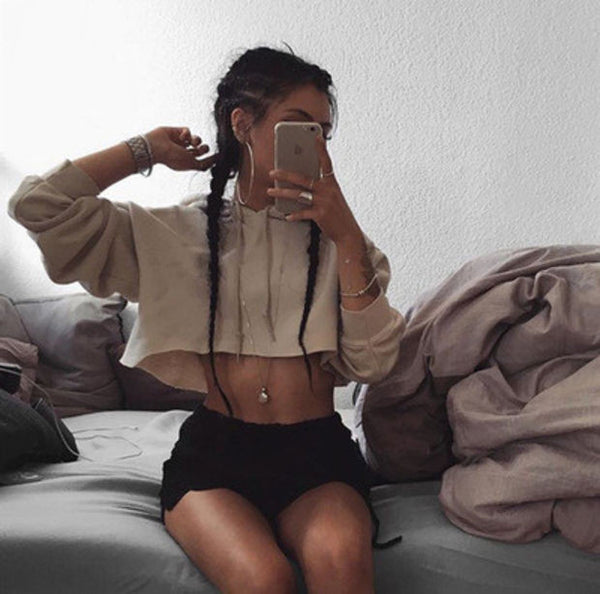 Sexy Crop Top Drawstring Long Sleeve Hoodie Shirt Top Tee