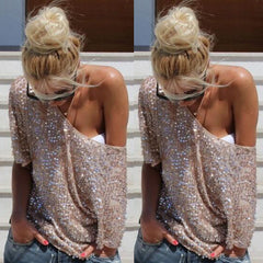 Sequined Short Sleeve Loose Shirt Top Tee