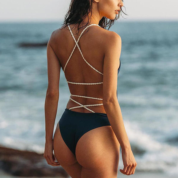 Crisscross Backless Beach One Piece Swimwear Bikini Swimsuit
