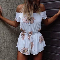 Sexy Boat Neck Short Sleeve Print Jumpsuit Rompers