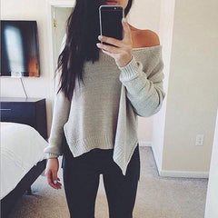 Sexy solid color loose knit Tops Sweater