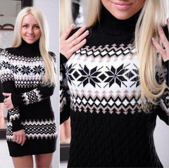 Print Long Sleeve High Collar Knit Dress