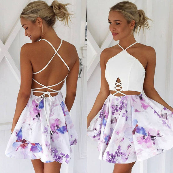 Sexy Crisscross Floral Print Halter Bodycon Mini Dress