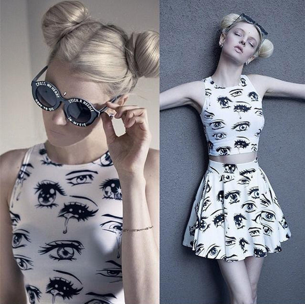 Fashion Glasses Print High Collar Two-Piece Dress