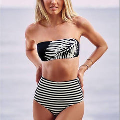 Stripe Print Strapless High Waist Bikini Set Swimsuit Swimwear