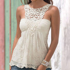 Sexy Halter Neck lace Stitching Shirt Blouse Tops