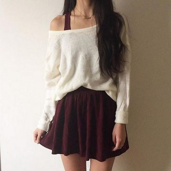 Solid round neck loose Tops Sweater
