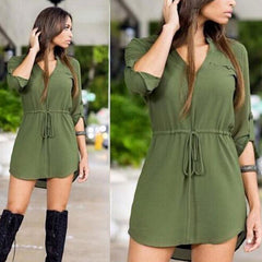 Strappy V-Neck Shirt Dress