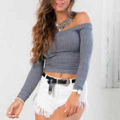 Sexy Slim Word Shoulder Knit Shirt Blouse Tops