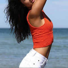 Fashion Solid Color Beach Knit Vest Tops Camisole