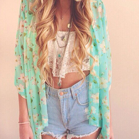 Fashion printed chiffon cardigan coat