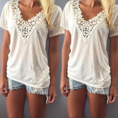 Lace Short Sleeve V-Neck Shirt Blouse Tops