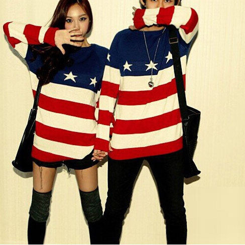 Retro flag star stripe Knitwear Tops Sweater