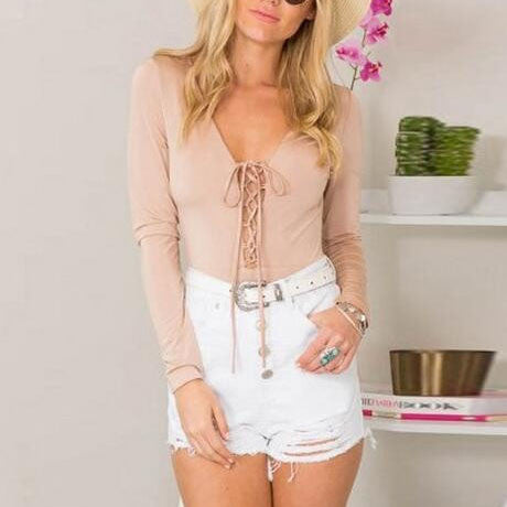 Sexy Lace Up V-Neck Long-Sleeved Shirt Blouse Tops