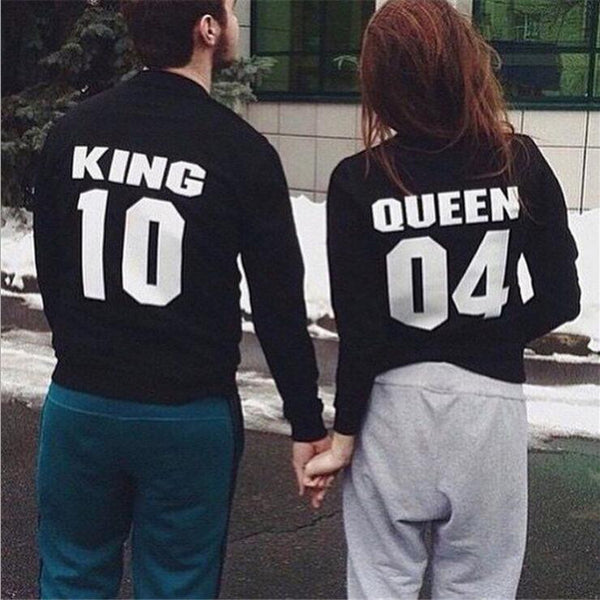 King Queen Letters Round Neck Pullovers Tops Sweater