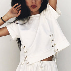 Fashion Strappy Round Neck Short Sleeve Shirt Top Tee