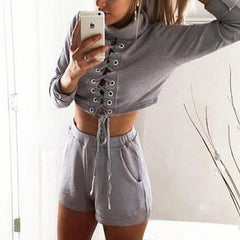 Fashion casual solid sports two-piece