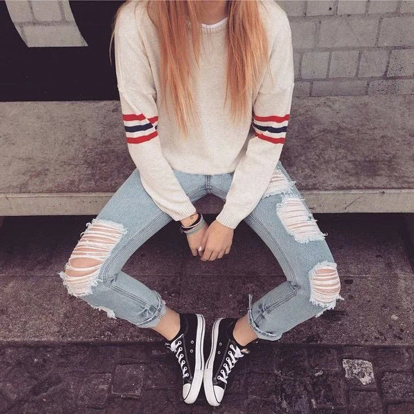 Round neck long-sleeved striped knit Pullovers Tops Sweater