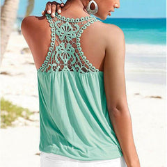 Fashion Lace Backless Sleeveless Shirt Blouse Tops