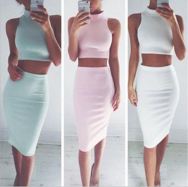 High-Neck Sleeveless Tight Dress Two-Piece
