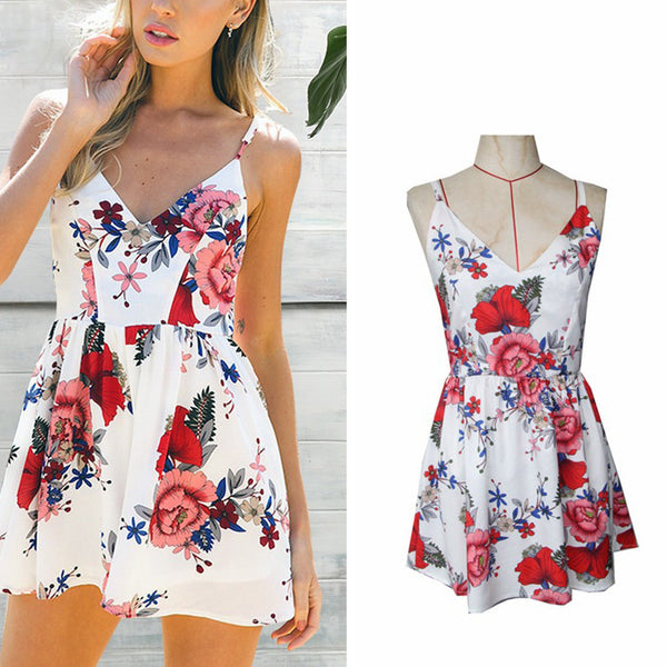 Sexy Floral Print V-Neck Strap Mini Dress
