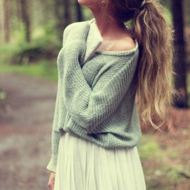 Loose bat sleeve knit Pullovers Tops Sweater