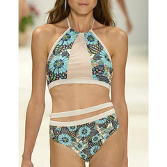 Fashion Print High Waist Bikini Swimsuit Swimwear