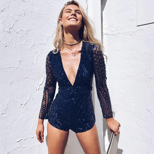 Deep V-Neck Backless Long Sleeve Romper Jumpsuit Bodysuit