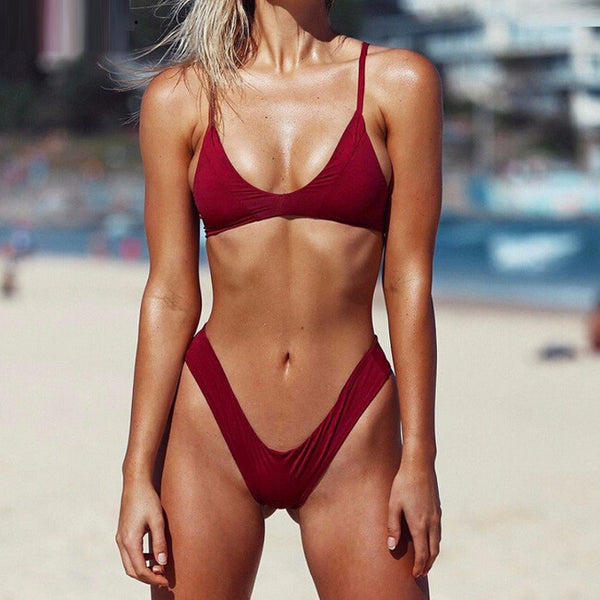 Sexy Casual Solid Strap Low Waist Beach Bikini Set Swimsuit Swimwear